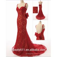 Vestido verdadero Vestidos sin tirantes del baile de fin de curso del vestido de noche del cordón de la sirena de las correas de espagueti del amor elegante ZS15-06
