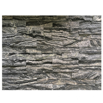 Lambris naturel de Ledgerstone de marbre noir de 15 × 60cm