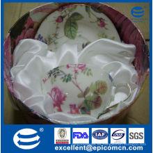 Venta de la promoción del regalo de la taza de China de hueso de la etiqueta de la flor de la llanta del oro y de la taza 200cc