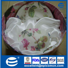 gold rim flower decal bone china 200cc cup and saucer gift promotion sale