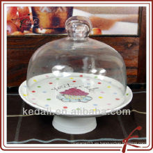 Soporte para tarro de porcelana con tapa de vidrio