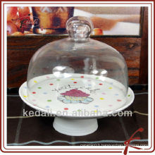 procelain cake stand holder with glass cover