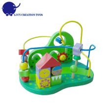 Jardim de madeira educacional Roller Coaster Bead Maze Toy