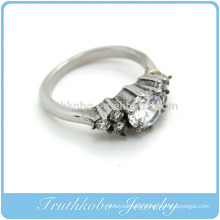 TKB-R0043 This simple yet fashionable silver casting ring comes crested with white CZ stones on a design for any occasion