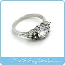 ТКБ-R0043 этот простой, но модный серебро кольцо отливки приходит хохлатая с белыми камнями CZ на дизайн для любого случая