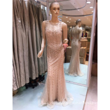 2017 último diseño de moda por encargo rebordeado vestido de noche de sirena de Bling para árabe