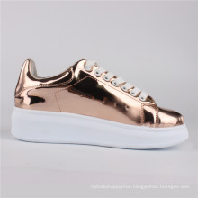 Women Shoes Mirrow PU Injection Shoes Casual Shoes Rose Gold