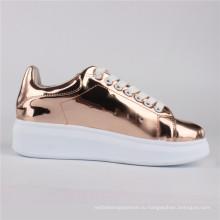 Женская обувь Мирроу впрыска PU обувь Повседневная обувь розовое золото
