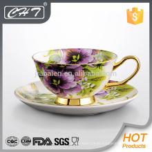 Fino hueso personalizado cerámica taza de té y plato conjunto
