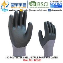 13G полиэфирная оболочка Нитрил 3/4 с покрытием перчатки (N3503) с CE, En388, En420, рабочие перчатки