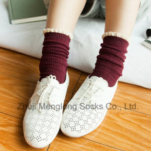 Small MOQ Accept Sweet Girl Cotton Socks with Lace Cuff