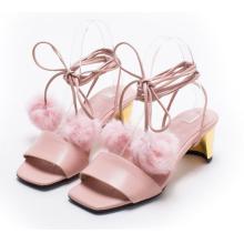 pink sandals high chunk heels