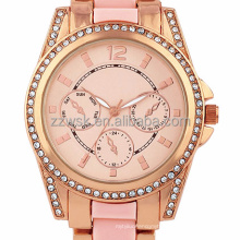 Super Cute Hand Watch For Girl Stainless Steel Ceramic Pink Strap Diamond Decorate Dial Quartz Lady Watch