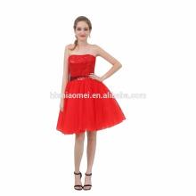 2017 besten Preis Neue Mode Off-Schulter Pailletten Kurz Puffy Red Abendkleid