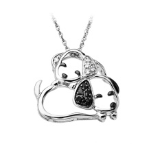 White Gold Puppy Shaped Diamond Pendant 925 Sterling Silver Jewelry