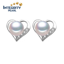 New Natural Cultured Freshwater 8-9mm AAA Button Pearl Earring Stud