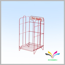 commercial floor customized metal wire display magazine stand