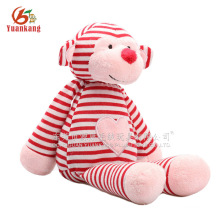 Pink and red monkey stuffed toy monkey with embroidery love heart