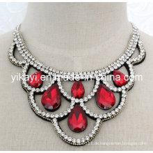 Lady Fashion Modeschmuck Wassertropfen Glas Kristall Anhänger Halskette (JE0199)