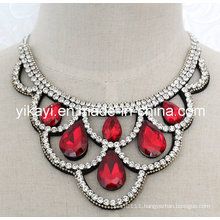 Lady Fashion Costume Jewelry Waterdrop Glass Crystal Pendant Necklace (JE0199)