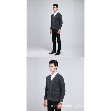 Yak Wool /Cashmere V Neck Cardigan Long Sleeve Sweater/Clothing/Knitwear/Garment