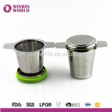 Filtro al por mayor del té de la hoja del acero inoxidable de la FDA 2016 con el anillo seguro del silicón de la comida