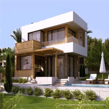 (WL-2) China Casas prefabricadas de hormigón Estructura de acero viva Prefab House