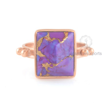 Purple Copper Turquoise Gemstone Ring, Wholesale Beautiful Rose Gold Ring Jewelry