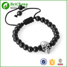 Mode Mann Skull Schmuck 8mm schwarz Bead Northskull handgemachte geflochtene Armband Armreifen