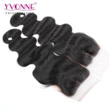 Fechamento de seda da base do cabelo humano do Virgin da onda do corpo