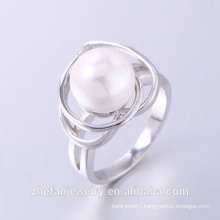 2018 hot sale latest design ring with water pearl 925 silver ring