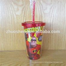 Zhuosheng plastique gobelet, tasse en plastique de qualité supérieure Double paroi 450ML