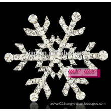 costume big flower snow flake clear crystal wholesale brooch