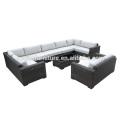Sofá cinzento do Rattan da mobília do jardim de 9 partes ajustado com coxim