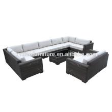 Sofa gris de rotin de meubles de jardin de 9 morceaux avec le coussin