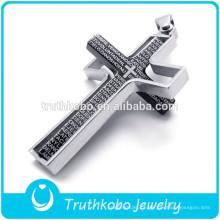 316l de aço inoxidável de alta qualidade duplo cruz pingente configurações com verso da Bíblia na venda