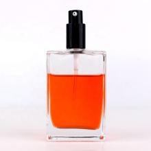 wholesale empty 100ml transparent square flat perfume spray glass bottle with pump mist sprayer