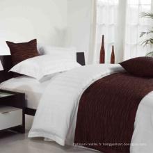 Hotel Linen 30mm Stripe Blanc Coton Ensembles de literie simples