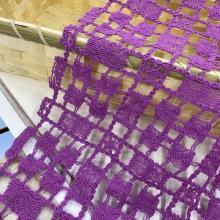 Tela de nylon quadrada do bordado da guipura do fio do algodão da grade