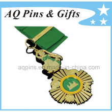 Gold Medal with Green Enamel Color