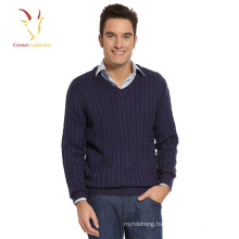 Pure wool cable knit chunky sweater for men