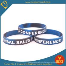 Heißer Verkauf Swirl Silikon-Armband mit Druck Logo (W0039)
