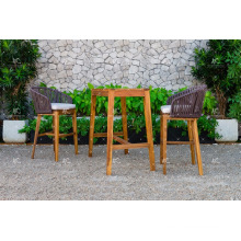 FLORES COLLECTION - Hot summer trendy Wicker PE Rattan Bar set 2 chairs and Acacia Wooden table for Outdoor Furniture
