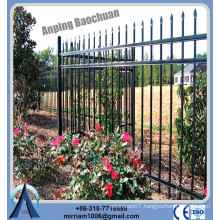 Factory Price high quality galvanized and powder coated black spear top steel fence for sale
