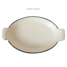 Prato de peixe de esmalte de ferro fundido oval inteiro / placa