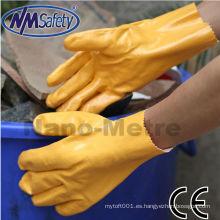 NMSAFETY entrelazado nitrilo guante sumergido con guantelete