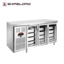 R256 1,8 m 3 Portas de vidro Luxurious Fancooling Tray Undercounter Refrigerator