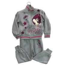 Terno do velo da menina da forma no desgaste do esporte da roupa das crianças (SWG-118)