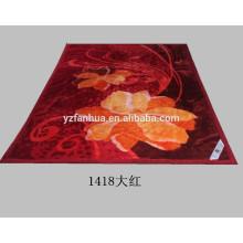 Scarlet Polyester Flower Printed Raschel Mink Blankets Cheap Wholesale