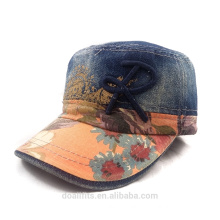 cowboy material with printed emboridery logo military cap high quality